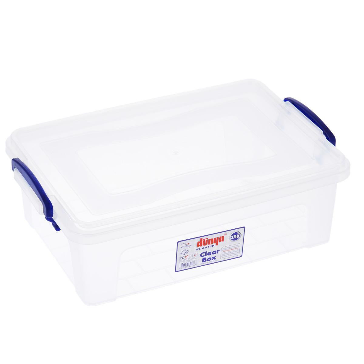 Контейнер Dunya Plastik Clear Box, цвет: прозрачный, 3,75 л30153Контейнер Dunya Plastik Clear Box выполнен из прочного пластика. Он предназначен для хранения различных мелких вещей. Крышка легко открывается и плотно закрывается. Прозрачные стенки позволяют видеть содержимое. По бокам предусмотрены две удобные ручки темно-синего цвета, с помощью которых контейнер закрывается. Контейнер поможет хранить все в одном месте, а также защитить вещи от пыли, грязи и влаги.