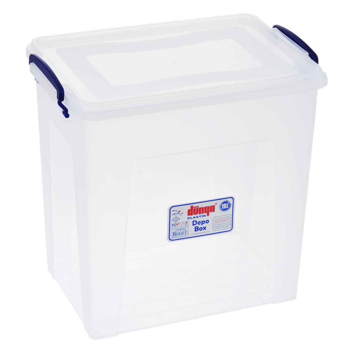 Контейнер Dunya Plastik Depo, цвет: прозрачный, синий, 19 л30174Контейнер Dunya Plastik Depo выполнен из прочного пластика. Он предназначен для хранения различных мелких вещей. Крышка легко открывается и плотно закрывается. Прозрачные стенки позволяют видеть содержимое. По бокам предусмотрены две удобные ручки, с помощью которых контейнер закрывается. Контейнер поможет хранить все в одном месте, а также защитить вещи от пыли, грязи и влаги.