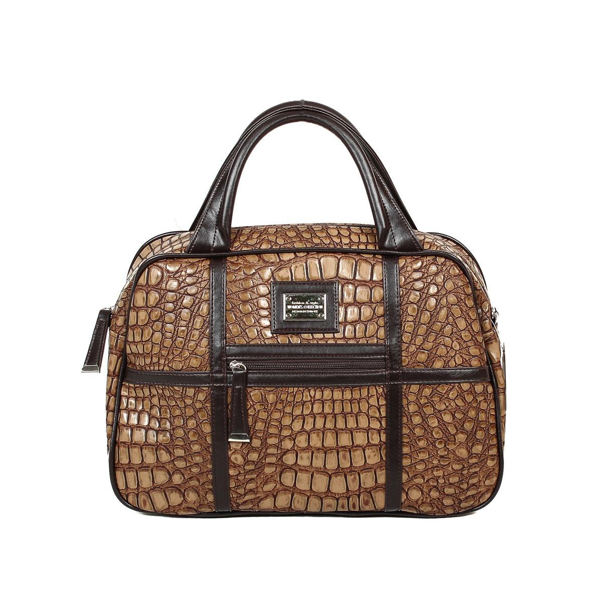 Сумка женская Zemsa, цвет: коричневый, бежевый. 124-27124-27Изысканная женская сумка Zemsa изготовлена из искусственной кожи, оформлена прострочкой. Изделие закрывается на удобную застежку-молнию. Внутри - одно вместительное отделение, несколько накладных карманчиков для мелочей, телефона и врезной карманчик на застежке-молнии. Внешняя сторона дополнена небольшим карманчиков на застежке-молнии. Роскошная сумка внесет элегантные нотки в ваш образ и подчеркнет ваше отменное чувство стиля.