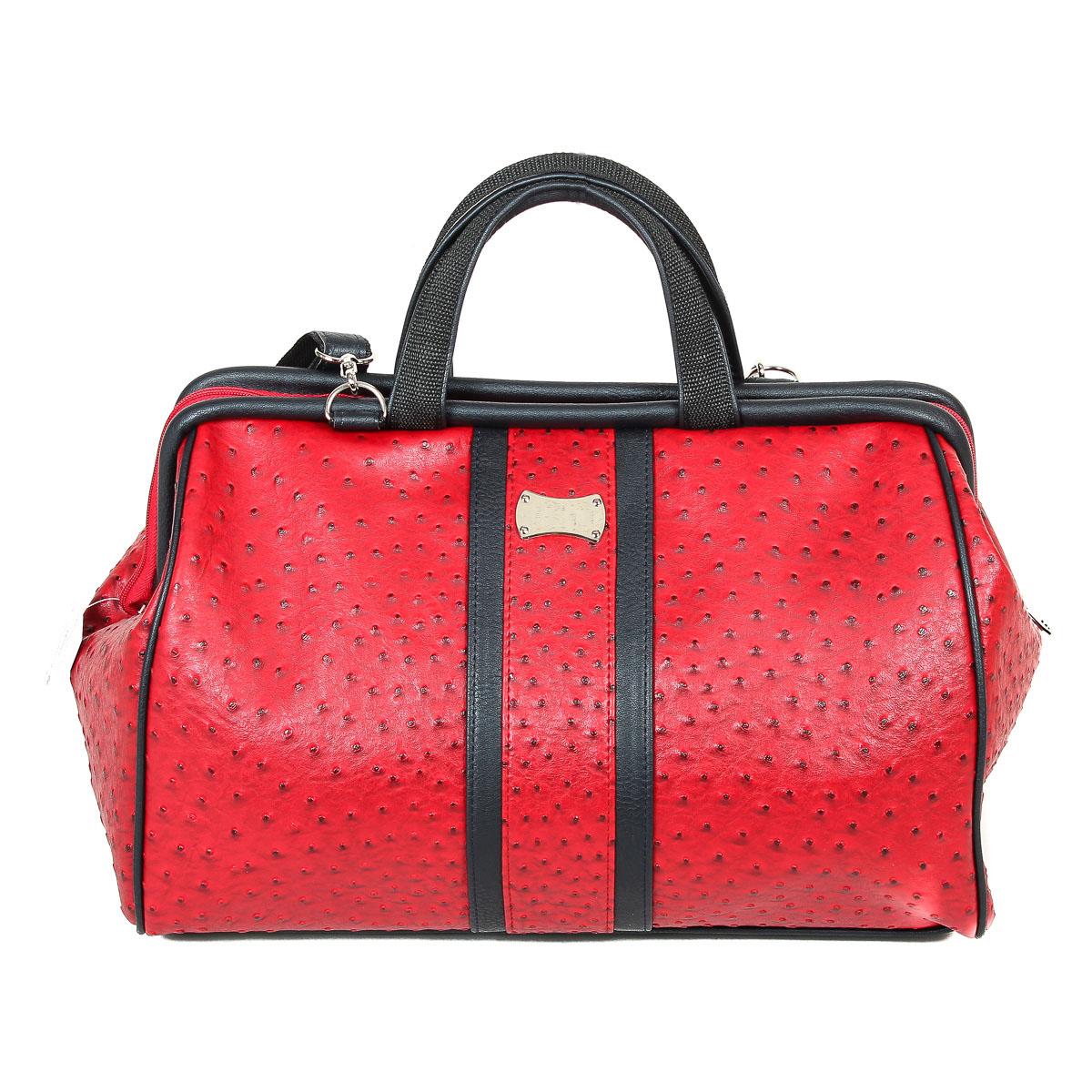Сумка женская Zemsa, цвет: красный, черный. 3-1333-133Элегантная женская сумка изготовлена из искусственной кожи, оформлена тиснением и металлической декоративной пластинкой. Изделие закрывается на застежку-молнию с двумя бегунками. Внутри - одно отделение, так же есть вшитый карман на застежке-молнии и накладной кармашек для мобильного телефона. Задняя сторона сумки дополнена втачным карманом на застежке-молнии. Дно защищено от повреждений пластиковыми ножками. Длинный съемный ремень идет в комплекте с сумкой. Изысканная сумка отлично дополнит ваш повседневный и выходной образы.