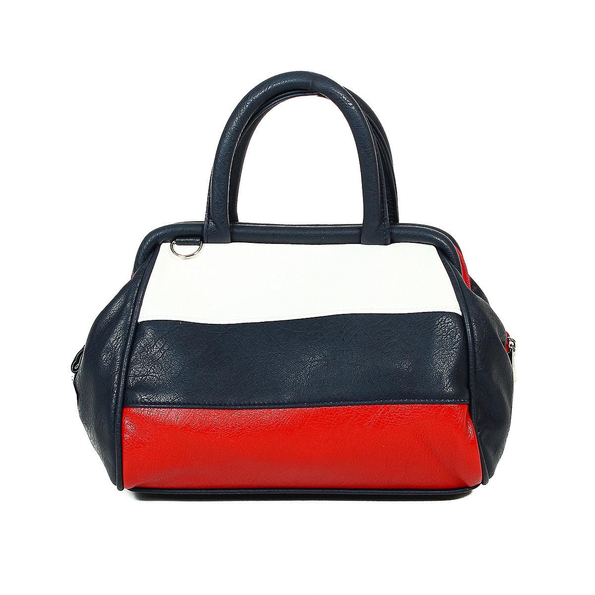 Сумка женская Zemsa. цвет: синий, красный, белый. 6-2876-287Изысканная женская сумка Zemsa изготовлена из искусственной кожи, оформлена прострочками. Изделие закрывается на удобную застежку-молнию с двумя бегунками. Внутри - одно вместительное отделение, несколько накладных карманчиков для мелочей, телефона и накладной карманчик на застежке-молнии. Задняя сторона сумки дополнена втачным карманом на застежке-молнии. Также у сумки есть отстегивающийся плечевой ремень. Роскошная сумка внесет элегантные нотки в ваш образ и подчеркнет ваше отменное чувство стиля.