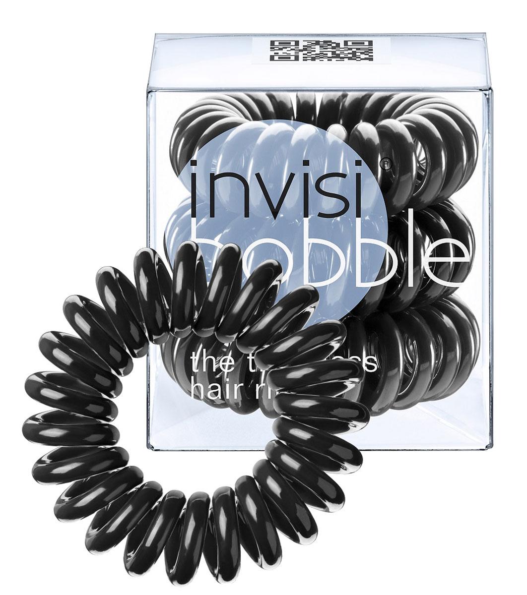 Invisibobble Резинка-браслет для волос True Black, 3 шт3001Столь необычная форма браслетов-резинок Invisibobble дает множество преимуществ. Резинка не оставляет заломов на волосах. При длительном ношении, например целый день, снимая резинку вы не почувствуете усталость волос. Оригинально смотрится на волосах. Отлично сохраняет свою форму и надежно фиксирует прическу. Не мокнет. Не травмируют волосы, в отличии от обычных резинок, нет трения, зажимов отдельных волосков или прядей. Подходят как для любого типа волос, так и не имеют ограничений по возрасту. Вам понравятся яркие цвета, а так же их можно использовать как стильные браслеты. Товар сертифицирован.