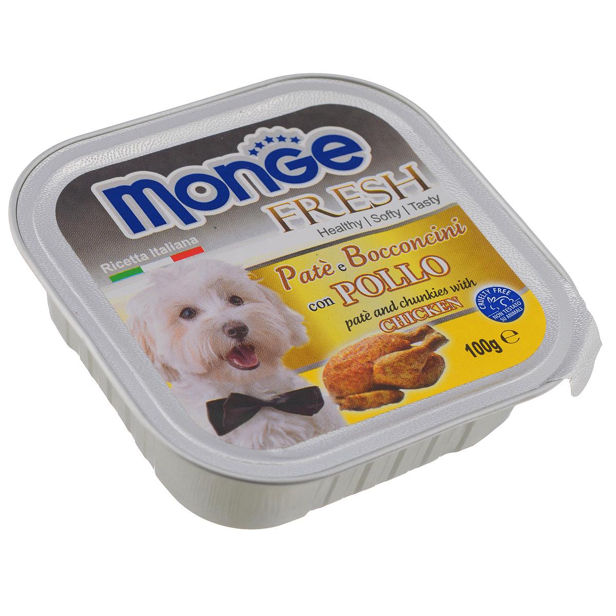 Консервы для собак Monge Fresh, с курицей, 100 г70013062Консервы для собак Monge Fresh - это полнорационный корм для собак. Паштет с мясом курицы. Состав: свежее мясо 80% (содержание курицы мин. 10%), минеральные вещества, витамины. Технологические добавки: загустители и желирующие вещества. Анализ компонентов: белок 9%, жир 7%, сырая клетчатка 0,5%, сырая зола 1,2%, влажность 82%. Витамины и добавки на 1 кг: витамин А 3000МЕ, витамин D3 400 МЕ, витамин Е 15 мг. Товар сертифицирован.