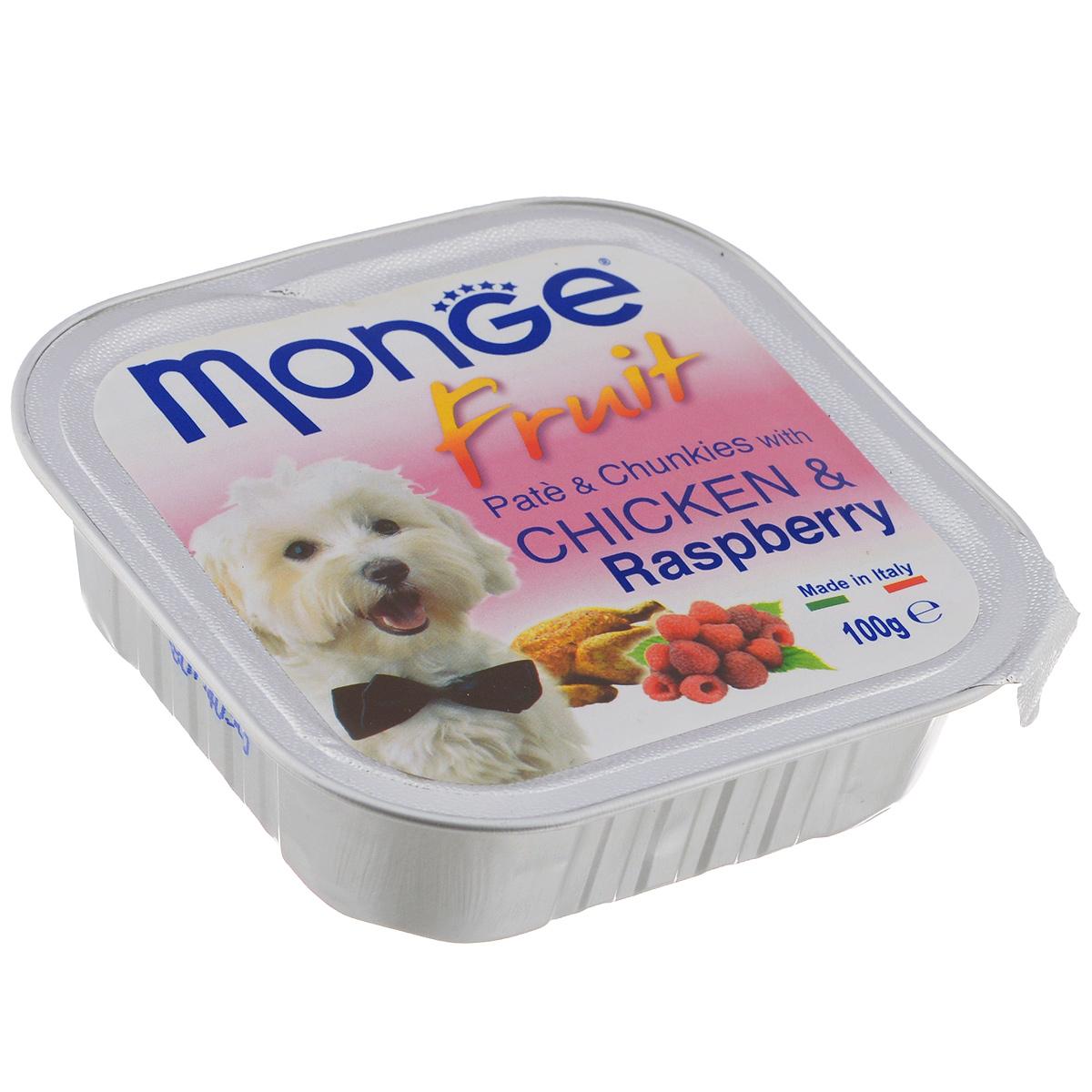 Консервы для собак Monge Fruit, курица с малиной, 100 г70013215Консервы для собак Monge Fruit - это полнорационный корм для собак. Паштет с курицей и малиной. Состав: свежее мясо 80% (содержание куриного мяса мин. 10%), малина 4%, минеральные вещества, витамины. Технологические добавки: загустители и желирующие вещества. Анализ компонентов: белок 8,5%, жир 7%, сырая клетчатка 0,5%, сырая зола 2,2%, влажность 80%. Витамины и добавки на 1 кг: витамин А 3000 МЕ, витамин D3 400 МЕ, витамин Е 15 мг. Товар сертифицирован.