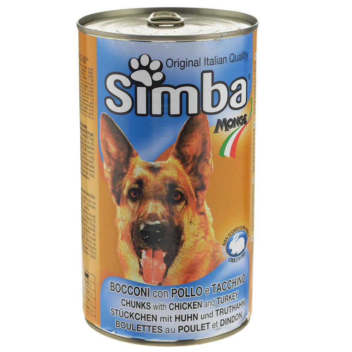Консервы для собак Monge Simba, кусочки с курицей и индейкой, 1230 г70009133Консервы для собак Monge Simba - это полноценный сбалансированный корм для собак. Кусочки с курицей и индейкой в соусе. Ежедневная норма для собаки среднего размера - 800 г. Состав: мясо домашней птицы и мясные субпродукты (цыпленок не менее 14%, индейка не менее 10%), злаки, минеральные вещества, витамины, натуральные красители и вкусовые добавки. Анализ компонентов: протеин 8%, жир 6%, клетчатка 1,21%, зола 3%, влажность 80%. Витамины и добавки на 1 кг: витамин А 2000 МЕ, витамин D3 200 МЕ, витамин Е 5 мг. Товар сертифицирован.