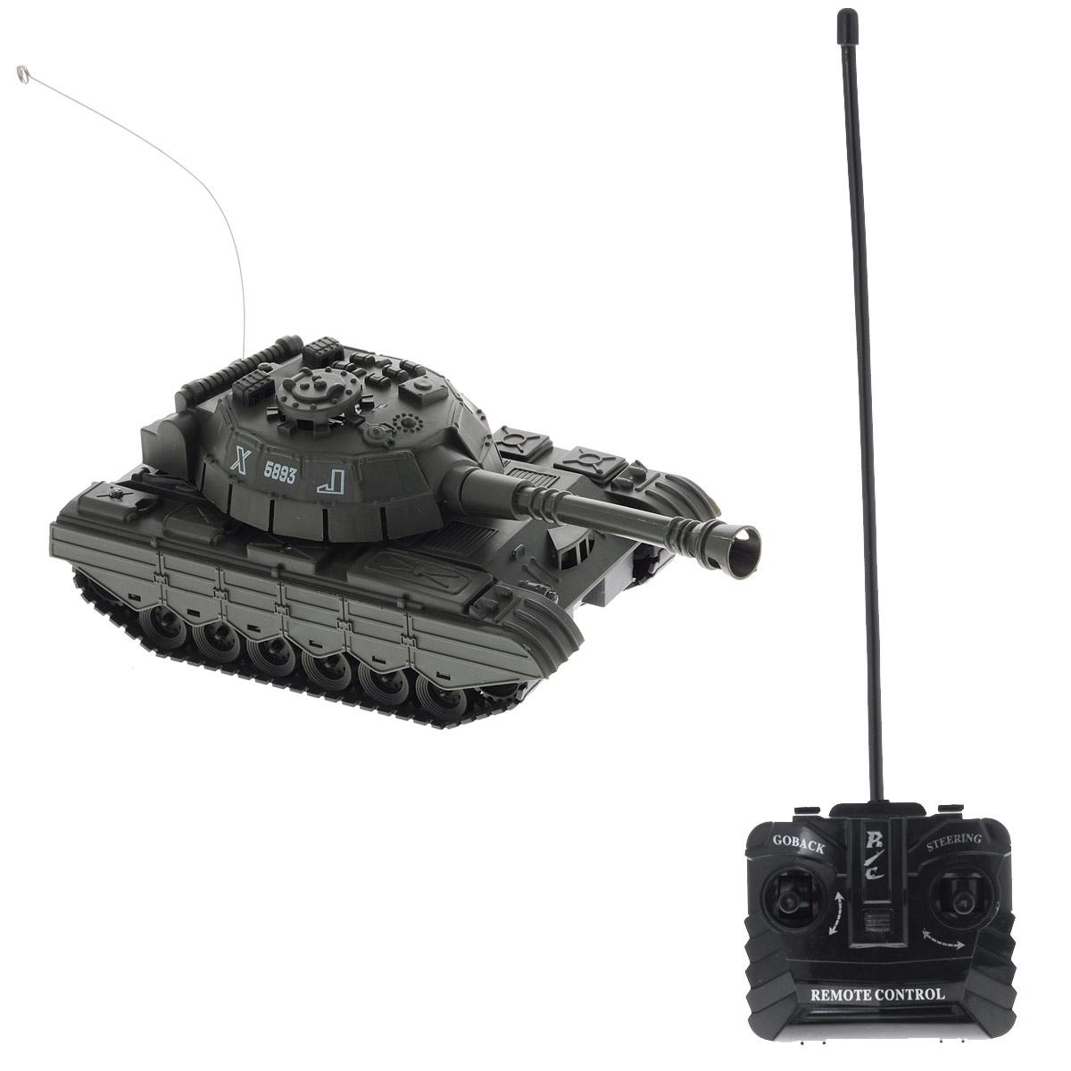 ABtoys Танк на радиоуправлении C-00115 цвет зеленыйC-00115 т.-зеленыйРадиоуправляемая модель ABtoys Боевой танк - отличный подарок не только ребенку, но и взрослому, увлекающемуся военной техникой. Танк изготовлен из прочного пластика, оснащен светодиодами, загорающимися во время вращения башни. Игрушка выполнена с вниманием к деталям. Танк передвигается при помощи скрытых колесиков, что позволяет создать иллюзию гусеничного хода. Ствол танка поднимается и опускается. Танк имеет высокую скорость движения. При помощи пульта управления танк может двигаться вперед, назад, поворачивать влево и вправо на 360°. Радиоуправляемая модель подарит массу удовольствия и детям, и взрослым. С ней можно играть часами, придумывая различные истории или просто испытывая возможности танка. Порадуйте себя и своего ребенка таким замечательным подарком! Пульт управления работает от 2 батареек напряжением 1,5V типа АА (не входят в комплект), танк работает от 4 батареек напряжением 1,5V типа АА(не входят в комплект).