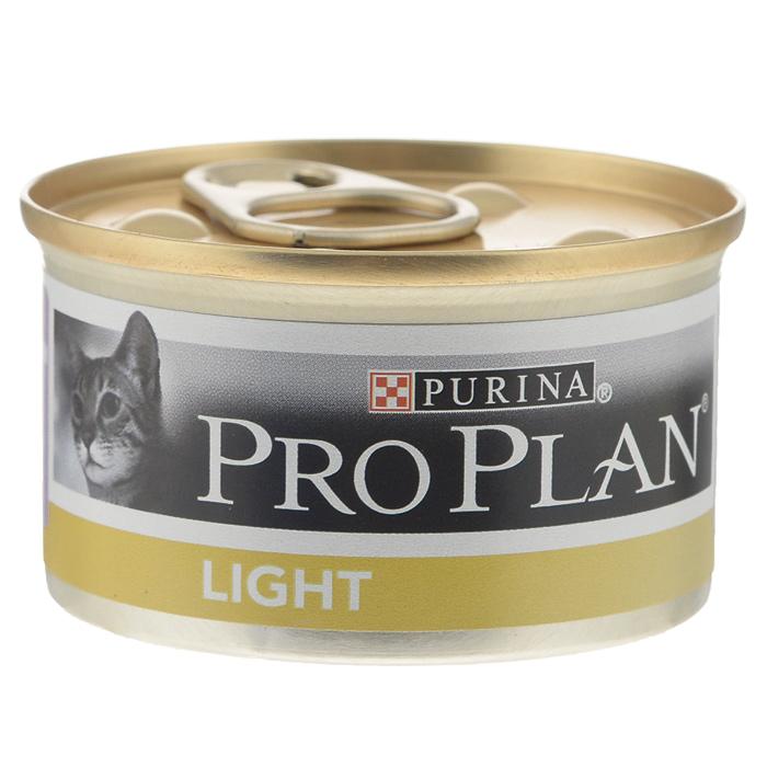 Консервы для кошек Pro Plan Light, низкокалорийные, с индейкой, 85 г12065874Консервы для кошек Pro Plan Light - полнорационный консервированный корм для взрослых кошек с избыточным весом. Кусочки индейки в подливе. Корм имеет высокое содержание индейки. Тщательно отобранные ингредиенты. Состав: мясо и субпродукты (из которых 8% индейка), экстракты растительных белков, злаки, рыба и продукты переработки рыбы, сахара, минеральные вещества. Добавленные вещества (на 1 кг): витамин А 1065 МЕ; витамин D3 145 МЕ; железо 10,2 мг, йод 0,39 мг; медь 0,97 мг; марганец 1,8 мг; цинк 27,6 мг; селен 0,023 мг. С консервантами. Гарантируемые показатели: влажность 80,0%, белок 12,0%, жир 3,5%, сырая зола 2,2%, сырая клетчатка 0,07%. Товар сертифицирован.