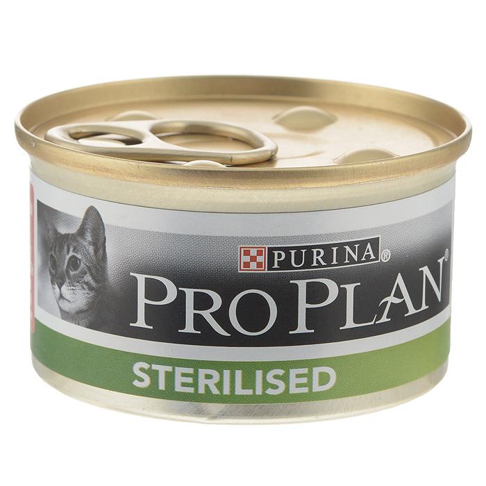 Консервы Pro Plan Sterilised для стерилизованных кошек и кастрированных котов, паштет с тунцом и лососем, 85 г12171995Консервы Pro Plan Sterilised - полнорационный консервированный корм для стерилизованных кошек и кастрированных котов. Паштет с тунцом и лососем. Тщательно отобранные ингредиенты. Состав: мясо и продукты переработки, рыба и продукты переработки (4% тунца, 4% лосося), минеральные вещества, витамины, сахара, продукты переработки растительного сырья. Добавленные вещества (на 1 кг): витамин А 1520 МЕ; витамин D3 210 МЕ; железо 44 мг; йод 0,85 мг; медь 5,4 мг; марганец 7,8 мг; цинк 107 мг; селен 0,071 мг. Технологические добавки: камедь кассии 1940 мг/кг. С консервантами. Гарантируемые показатели: влажность 77%, белок 13%, жир 4,5%, сырая зола 3%, сырая клетчатка 0,35%. Товар сертифицирован.
