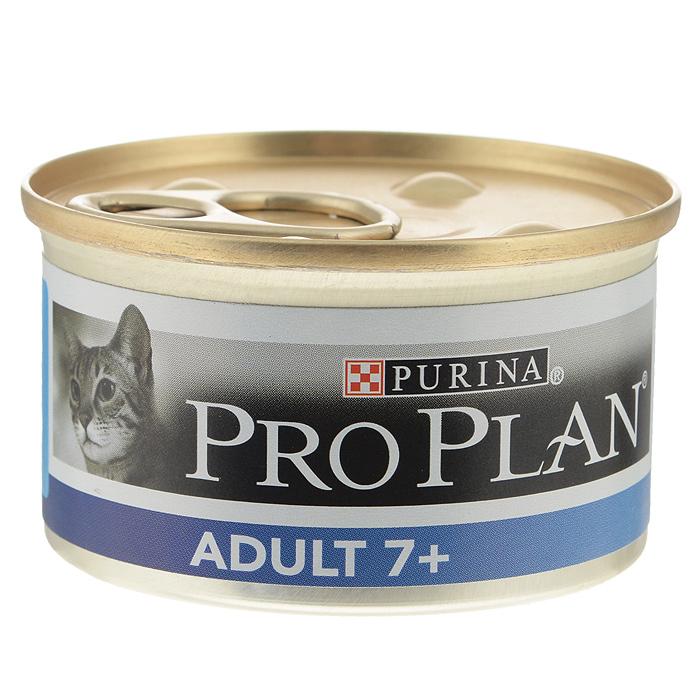 Консервы для пожилых кошек Pro Plan Adult 7+, мусс с тунцом, 85 г12171996Консервы для кошек Pro Plan Light - полнорационный консервированный корм для пожилых кошек старше 7 лет. Мусс с тунцом. Тщательно отобранные ингредиенты. Особенности: - помогает поддерживать основные жизненные функции (иммунную, почечную и пищеварительную), баланс микрофлоры кишечника для здорового пищеварения, - сбалансированное содержание минеральных веществ для здоровой мочевыводящей системы - подходит для кормления стерилизованных кошек и кастрированных котов. Состав: мясо и субпродукты, рыба и продукты переработки рыбы (из которых 4% тунец), овощи, масла и жиры, минеральные вещества, продукты переработки овощей, сахара. Добавленные вещества (на 1 кг): витамин А 1740 МЕ; витамин D3 245 МЕ; железо 16 мг, йод 0,59 мг; медь 1,5 мг; марганец 2,8 мг; цинк 40,4 мг; селен 0,032 мг. С консервантами. Гарантируемые показатели: влажность 75%, белок 10,2%, жир 9,4%, сырая зола 2,8%, сырая клетчатка 0,2%. Товар...