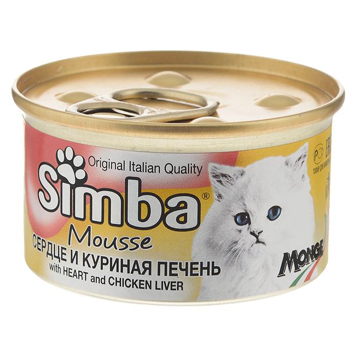Консервы для кошек Monge Simba, мусс с сердцем и куриной печенью, 85 г70009461Консервы для кошек Monge Simba - это полноценный сбалансированный корм для кошек. Мусс с сердцем и куриной печенью. Ежедневная норма для кошки среднего размера (3-4 кг) - 400 г. Порцию можно разделить на несколько приемов. Состав: мясо и мясные субпродукты (сердце 6,5%, куриная печень 4,5%), злаки, минеральные вещества. Анализ компонентов: сырой белок 8,5%, сырой жир 6%, сырая клетчатка 0,5%, сырая зола 2%, влажность 78%. Витамины и добавки на 1 кг: витамин D3 250 МЕ, витамин Е 5 мг, загустители, желирующие вещества. Товар сертифицирован.