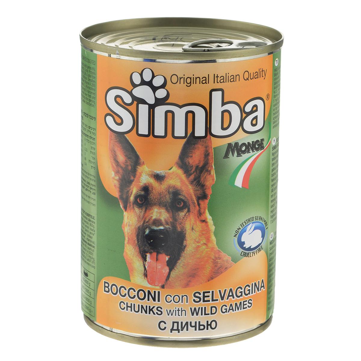 """Консервы для собак Monge """"Simba"""", кусочки с дичью, 415 г 70009171"""