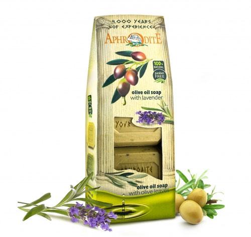 Aphrodite Мыло оливковое в наборе (лаванда & розмарин), 220 г