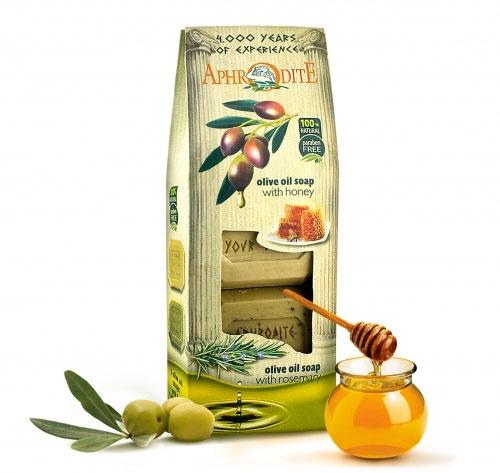 Aphrodite Набор оливкового мыла для тела, с медом, ванилью и розмарином, для сухой и жирной кожи, 220 г, 2 шт