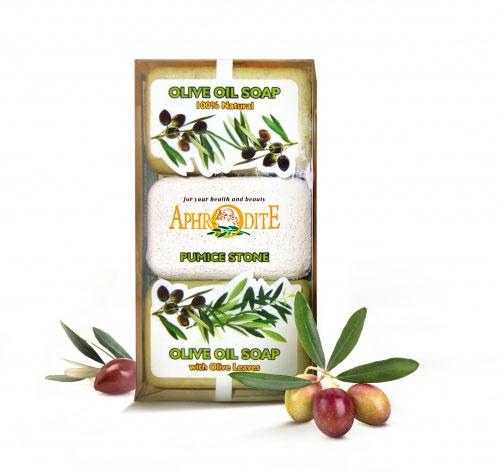 Aphrodite Мыло оливковое в наборе с пемзой (натуральное & с листьями оливы), 260 г