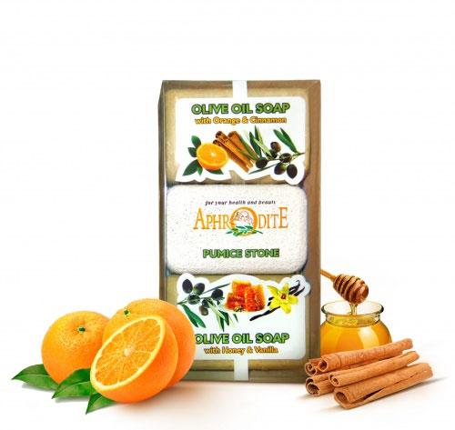 Aphrodite Мыло оливковое в наборе с пемзой (с маслом апельсина и корицы & с медом), 260 г