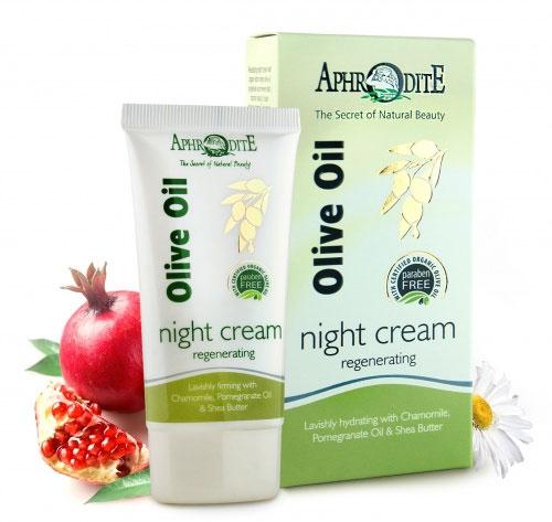 Aphrodite Ночной крем для лица, питательный, с ромашкой, маслом граната и дерева ши, 50 мл - AphrOditE - AphrOditEZ-20Питательный ночной крем для лица Aphrodite рекомендован для сухой и чувствительной кожи, а в зимний период - для всех типов кожи. Нежная текстура крема с витамином А, ретинолом и пептидами омолаживает, снимает раздражение и успокаивает уставшую кожу. Предотвращает преждевременное старение кожи благодаря свойствам оливкового масла, экстракта ромашки, протеинам пшеницы и витамину Е. Масло дерева Ши помогает восстановить оптимальный уровень влаги. Провитамин B5 обеспечивает упругость и эластичность. Экстракты ромашки и чертополоха успокаивают уставшую кожу. Не содержит парабенов и животных жиров. Товар сертифицирован.