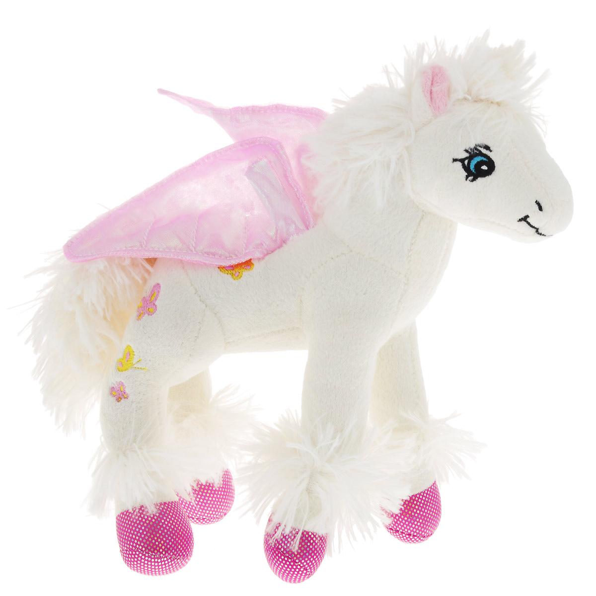 Мягкая игрушка Fancy Лошадка-пегас, 25 смПГС01Очаровательная мягкая игрушка Fancy Лошадка-пегас выполнена в виде сказочного пегаса. Игрушка изготовлена из высококачественного текстильного материала с набивкой из полиэфирного волокна. Грива и хвостик лошадки выполнены из нежного, приятного на ощупь материала. За спиной лошадки - красочные блестящие крылья; спинка вышита бабочками. Игрушка не имеет твердых элементов и подойдет для самых маленьких - даже ее глазки вышиты нитками. Удивительно мягкая игрушка принесет радость и подарит своему обладателю мгновения нежных объятий и приятных воспоминаний. Великолепное качество исполнения делают эту игрушку чудесным подарком к любому празднику.