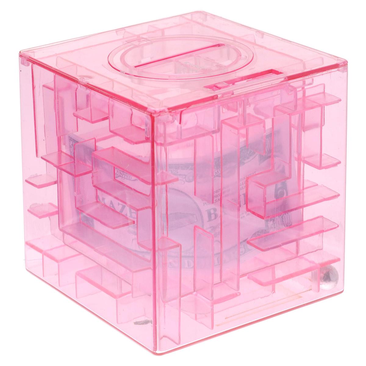 Копилка-головоломка Эврика Лабиринт, цвет: розовый92677Копилка Лабиринт - это самая настоящая головоломка. Она изготовлена из высококачественного пластика. Чтобы достать накопленные денежки, необходимо провести шарик по запутанному пути. Копилка Лабиринт - оригинальный способ преподнести подарок. Положите купюру в копилку, и смело вручайте имениннику. Вашему другу придется потрудиться, чтобы достать подаренную купюру. Копилка имеет отверстие, чтобы класть в нее деньги. Размер копилки: 9 см х 9 см х 9 см.