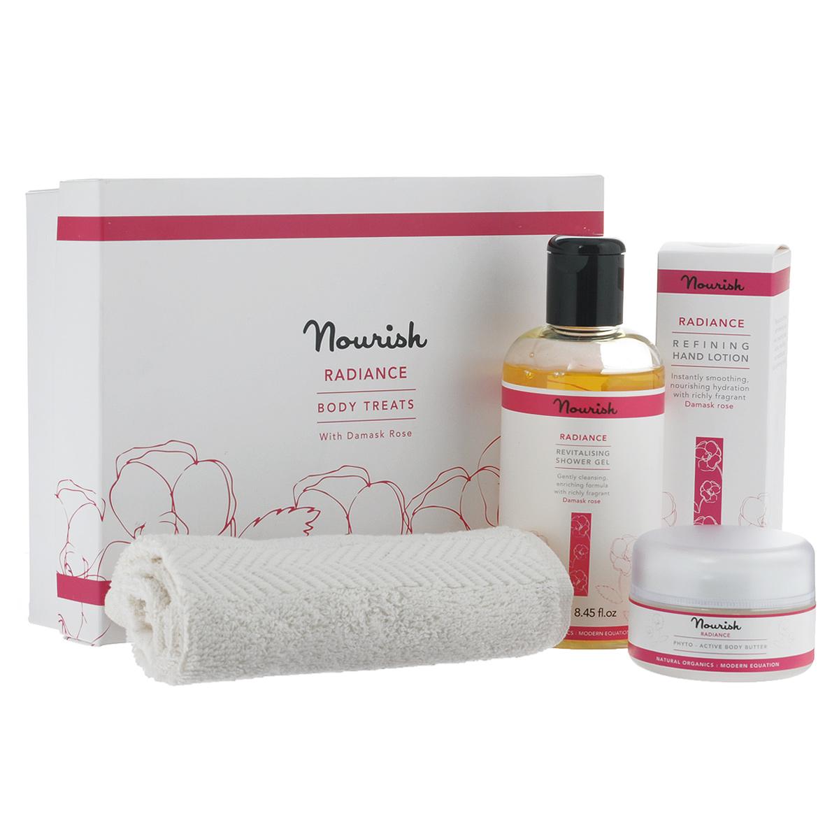 """Nourish Подарочный набор для ухода за телом """"Radiance"""": гель для душа, крем-масло для тела, увлажняющее, лосьон для рук, полотенце"""