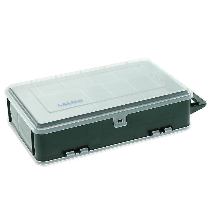 Коробка рыболовная Salmo 82, двухсторонняя, цвет: зеленый1500-82Удобная коробка Salmo 82 для хранения и транспортировки приманок и рыболовных принадлежностей позволит максимально защитить ее содержимое от попадания загрязнений и влаги. Коробка выполнена из пластика и содержит два отделения. В одном отделении находятся десять отсеков, в другом - от 3 до 14, благодаря тому, что створки можно вынуть. Максимальное количество отсеков - 24. Коробка оснащена ручкой для транспортировки.