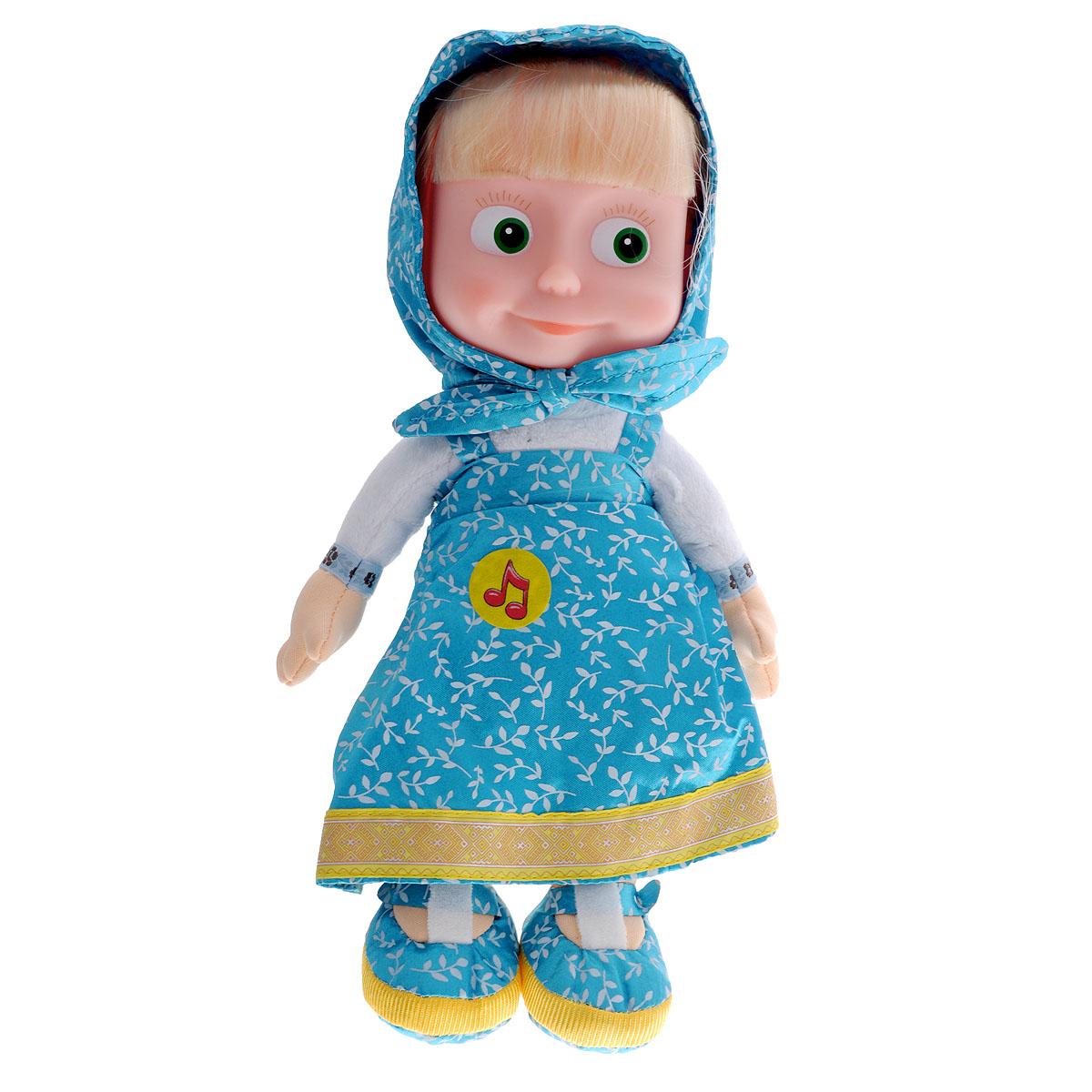Мягкая озвученная игрушка Мульти-Пульти Маша, цвет: голубой, 29 смV86121/30A_голубойМягкая озвученная игрушка Мульти-Пульти Маша непременно развеселит вашего малыша! Она выполнена в виде Маши - главной героини популярного мультсериала Маша и Медведь. Туловище, ручки и ножки игрушки - мягкие, с набивкой из гипоаллергенного синтепона, голова - пластиковая. Маша одета в свой любимый сарафан, на голове повязан платочек такого же цвета. У Маши роскошные светлые волосы, которые можно заплетать и расчесывать. Если нажать игрушке на животик, она произнесет одну из 5 своих коронных фраз или споет песенку из мультфильма. Специальные гранулы, используемые при ее набивке, способствуют развитию мелкой моторики рук малыша. Великолепное качество исполнения делают эту игрушку чудесным подарком к любому празднику. Трогательная и симпатичная, она непременно вызовет улыбку у детей и взрослых. Игрушка подарит своему обладателю хорошее настроение и позволит насладиться обществом любимого героя.