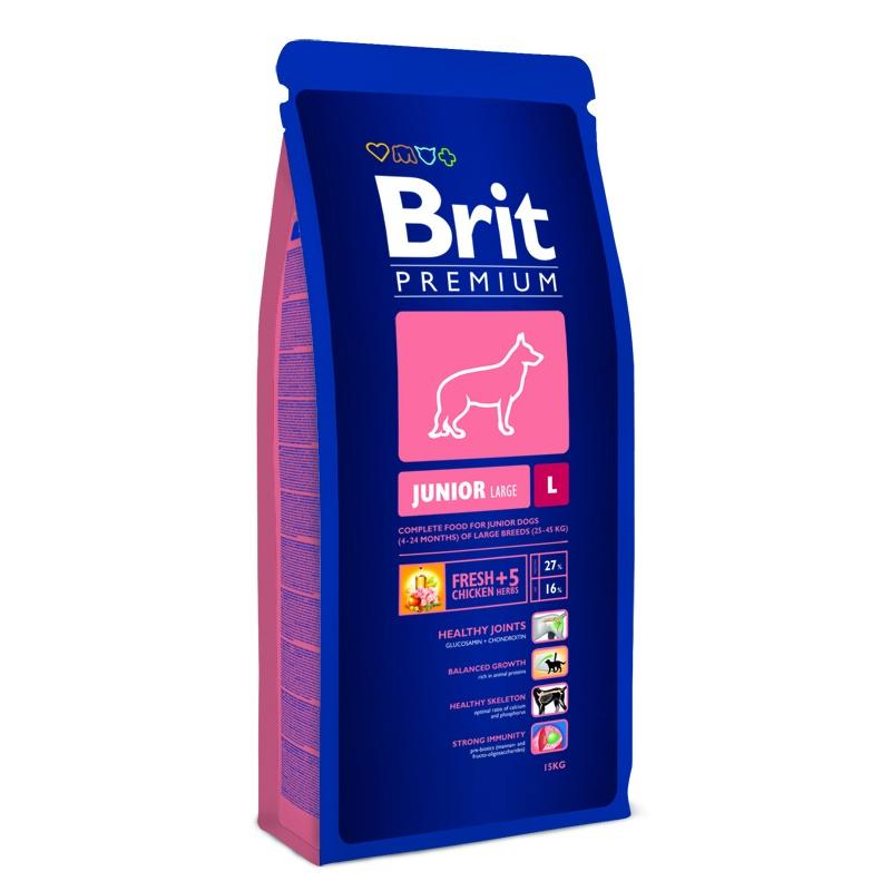 Корм сухой Brit Premium Junior L для щенков крупных пород, с курицей и травами, 15 кг132329Сухой корм Brit Premium Junior L - это полноценное и сбалансированное питание для щенков и молодых собак (4-24 месяца) крупных пород весом от 25-45 кг. Рекомендуется для следующих пород: американский стаффордширский терьер, акита-ину, аляскинский маламут, босерон, бельгийская овчарка, боксер, борзая, далматин, доберман, аргентинский дог, английский сеттер, прямошерстный ретривер, немецкая овчарка, ризеншнауцер, голден ретривер, гордон сеттер, ховаварт, лабрадор ретривер, пойнтер, родезийский риджбек, венгерская выжла, веймаранер. Здоровый Рост. Сбалансированное содержание кальция, фосфора и метил-сульфонил-метана (MSM) для здоровья внутренних органов и хрящей, а также для оптимального роста костей. Здоровые Хрящи. Содержит глюкозоамин и ходроитин для здоровых хрящей. Поддержка Иммунитета. Витамин Е (альфа-токоферол) и питательные антиоксиданты поддерживают иммунитет. Здоровое Пищеварение. Содержит высококачественные протеины цыпленка для...