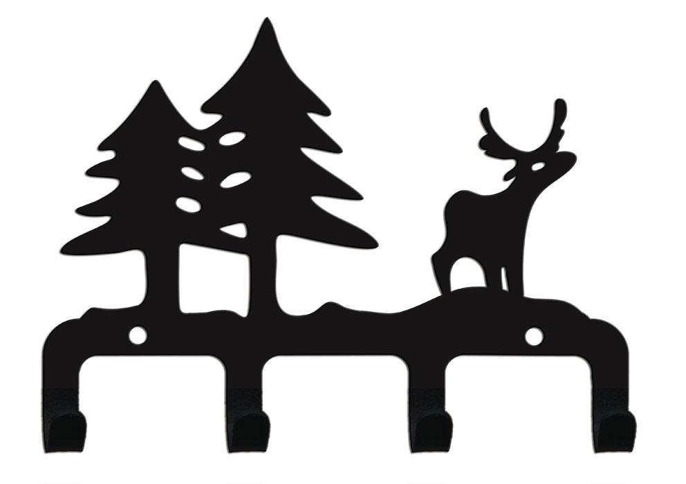 Крючок четырехрожковый Duck & Dog Лес, 16 х 11,5 смCR4-06Четырехрожковый крючок Duck & Dog Лес изготовлен из стали и покрыт специальной порошковой краской черного цвета, что гарантирует долговечность срока службы. Декоративная часть крючка выполнена в виде оленя и двух елок. Крепится к стене с помощью двух винтов-саморезов (входят в комплект). Крючок Duck & Dog - это не только удобная и функциональная деталь вашего интерьера, но и удивительно забавная и оригинальная вещичка. Размер крючка: 16 см х 11,5 см.