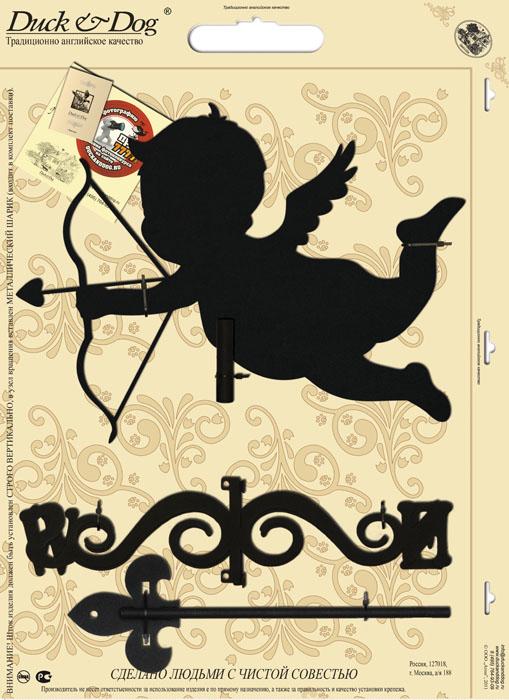 Флюгер малый Duck & Dog Амур, 35 х 68 смМФ.70001Флюгер Duck & Dog Амур изготовлен из сплавов прочных металлов и покрыт специальной порошковой краской, что гарантирует долговечность срока службы. Флюгер поворачивается под воздействием ветра, а также указывает его направление. Такой метеоприбор отличается заметным изяществом. Флюгера - это украшение дома, некий элемент декора. Также их помещают на любые загородные сооружения, бани, беседки и т.д. В комплекте крепежные элементы. Размер фигурной части: 35 см х 25 см.