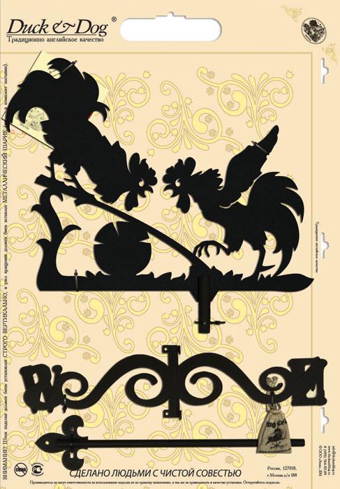 Флюгер Duck & Dog Два петуха, 50 см х 95 смБФ.20001Флюгер Duck & Dog Два петуха изготовлен из сплавов прочных металлов и покрыт специальной порошковой краской, что гарантирует долговечность срока службы. Флюгер поворачивается под воздействием ветра, а также указывает его направление. Такой метеоприбор отличается заметным изяществом. Флюгера - это украшение дома, некий элемент декора. Также их помещают на любые загородные сооружения, бани, беседки и т.д В комплекте крепежные элементы. Размер фигурной части: 38 см х 50 см.