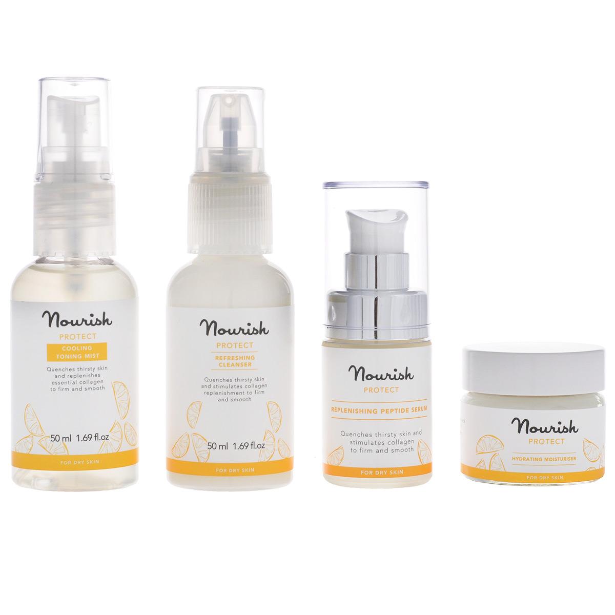 Nourish Набор миниатюр для ухода за лицом Protect, для сухой кожи: молочко, очищающее, тоник-мист, увлажняющий, крем для лица, увлажняющий, сыворотка для лица, питательнаяУТ000000999Набор миниатюр для ухода за лицом Nourish Protect для сухой кожи содержит молочко, тоник-мист, увлажняющий крем для лица и питательную сыворотку. Набор уходовых средств для лица можно взять с собой в дорогу или положить в косметичку. А также это отличный вариант для тех, кто любит новое и хочет познакомиться со средствами Nourish! Очищающее молочко Protect - нежная текстура в сочетании с легким цитрусовым ароматом, богатый питательный состав: - масло кожуры апельсина глубоко питает и увлажняет кожу, стимулирует лимфоток, очищает и стягивает поры; - масло кожуры мандарина тонизирует и освежает утомленную кожу, выравнивает рельеф эпидермиса, возвращает коже эластичность и упругость, разглаживает морщины, а также улучшает цвет и состояние кожи. Увлажняющий тоник-спрей Protect для сухой кожи лица с солнечным ароматом цитрусов рекомендован для ежедневного применения. Он может использоваться по мере необходимости в течение дня, а также...