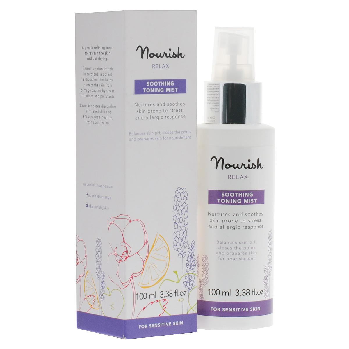 Nourish Тоник-спрей Relax, с экстрактом лаванды, для чувствительной кожи, 100 млУТ000001016Смягчающий тоник-спрей Relax глубоко увлажняет кожу, что необходимо для нормального функционирования клеток. В составе спрея: -масло лаванды деликатно успокаивает кожу; -кумарин, добываемый из плодов диптерикса душистого, обладает фотозащитными свойствами, оберегая нежную кожу от негативного воздействия ультрафиолета. Рекомендован для обладателей чувствительной кожи. На 97% состоит из органических компонентов. Товар сертифицирован.