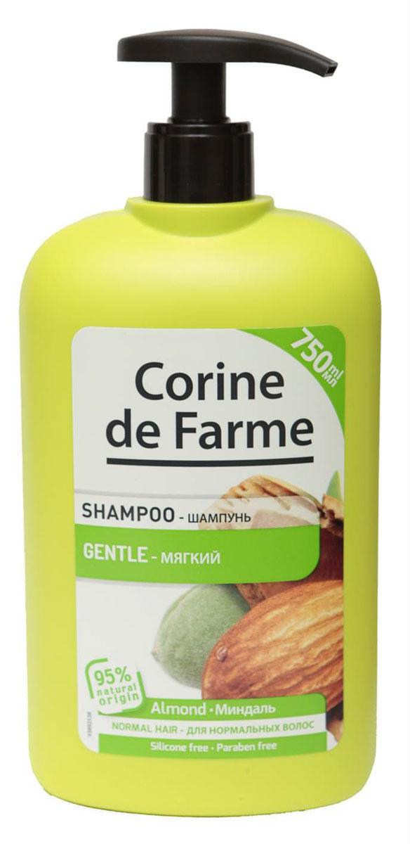 Corine De Farme Мягкий шампунь с миндалем, 750 мл14165Мягкий Шампунь с Миндалем питает волосы и делает их здоровыми и блестящими. Обогащен экстрактом миндаля и медом. (экстракт миндаля содержит витамин С, витамины В1 и В2 и провитамин А. Мед содержит аминокислоты минералы и увлажняющие компоненты)