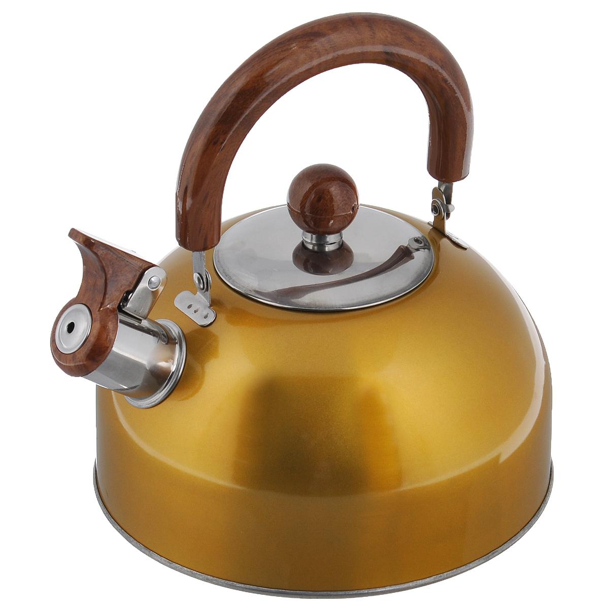 Чайник Mayer & Boch Modern со свистком, цвет: желтый, 2 л. МВ-3226МВ-3226Чайник Mayer & Boch Modern изготовлен из высококачественной нержавеющей стали. Гладкая и ровная поверхность существенно облегчает уход. Чайник оснащен удобной нейлоновой ручкой, которая не нагревается даже при продолжительном периоде нагрева воды. Носик чайника имеет насадку-свисток, что позволит вам контролировать процесс подогрева или кипячения воды. Выполненный из качественных материалов чайник Mayer & Boch Modern при кипячении сохраняет все полезные свойства воды. Чайник пригоден для использования на всех типах плит, кроме индукционных. Можно мыть в посудомоечной машине.