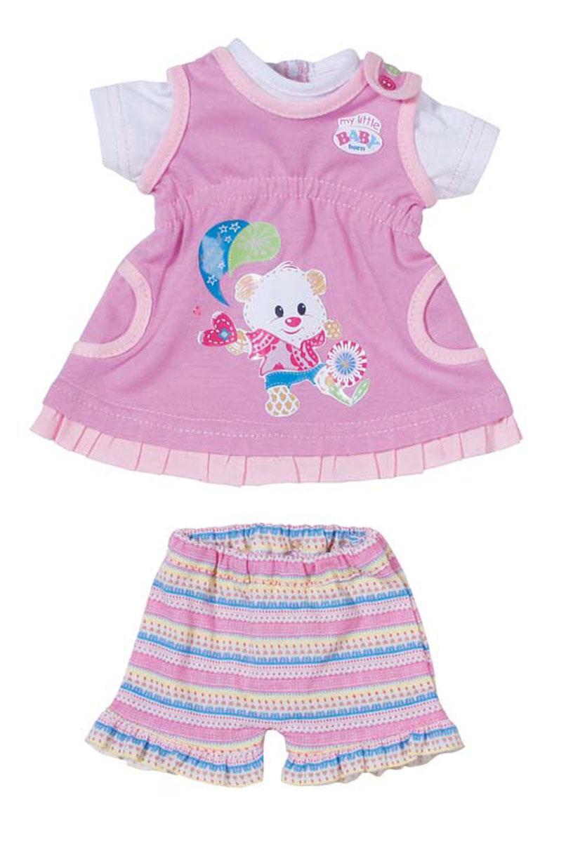 Baby Born Комплект одежды для куклы цвет розовый820-209Комплект одежды предназначен для куклы Baby Born высотой 32 см. Платье и штаны выполнены из текстильного материала, розового цвета и оформлен веселыми аппликациями. Сзади застегивается на липучки, штаны на резинке. Комплект одежды поставляется вместе с оригинальной вешалкой, поэтому у маленькой мамы не будет забот, как его хранить.