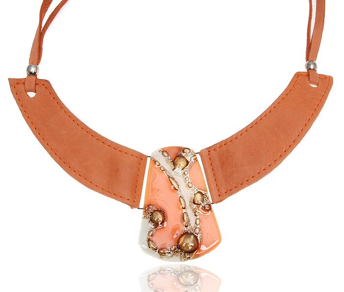 Ожерелье Далила. Стекло, натуральная кожа терракотового цвета. Cristalida, Аргентина10086821