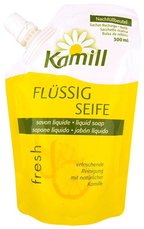 Kamill Мыло жидкое для рук Fresh, сменный блок, 300 мл269506433Освежающее жидкое мыло для рук с ароматом цитрусового молочка и экстрактом ромашки успокаивает кожу и поддерживает ее естественную регенерацию. Благодаря аромату лимонного молочка, оставляет ощущение свежести после использования. Концентрированная формула обеспечивает очень экономичный расход мыла. Жидкое мыло Kamill pH-нейтрально, проверено дерматологически. Товар сертифицирован.