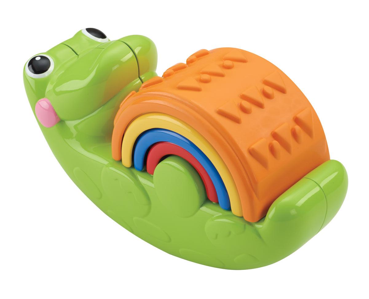 Fisher-Price Пирамидка КрокодильчикCDC48Оригинальная пирамидка Fisher-Price Крокодильчик изготовлена из высококачественного прочного пластика, безопасного для детей. В наборе - крокодильчик и 4 разноцветные детали в виде арок с узорами (геометрические фигуры и линии). С этим крокодильчиком не соскучишься! Четыре части этой игрушки можно складывать и раскладывать в самых разных вариациях. А также малыш может заставить крокодильчика раскачиваться! При раскачивании в крокодиле катается и гремит шарик. Во время игры у малыша быстрее развивается мелкая моторика, цветовое восприятие и зрительно-двигательная координация. Раскладывая дуги по размеру, от большей к меньшей и наоборот, ребенок учится анализировать и решать задачи.