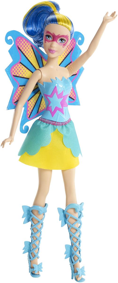Barbie Кукла Супер-принцесса цвет платья голубой желтыйCDY65_CDY67В мультфильме Барби: Супер Принцесса современную принцессу поцеловала волшебная бабочка, одарив ее суперспособностями. Удастся ли ей вместе с суперподругами защитить королевство от врага? Лучшие подруги Кары — гениальные двойняшки — готовы вместе с ней спасать мир! Кукла выполнена в виде одной из двойняшек в костюме супергероини. Ее броские, эффектные крылья с узором — настоящая заявка на звание супермодницы, а юбка и топ под цвет крыльев и сапожки на шнуровке делают эту помощницу героини просто неотразимой! Образ дополняют яркие волосы с прядью контрастного цвета и нарисованная полумаска. Голова, ручки и ножки подвижны. Кукла не может стоять без опоры.
