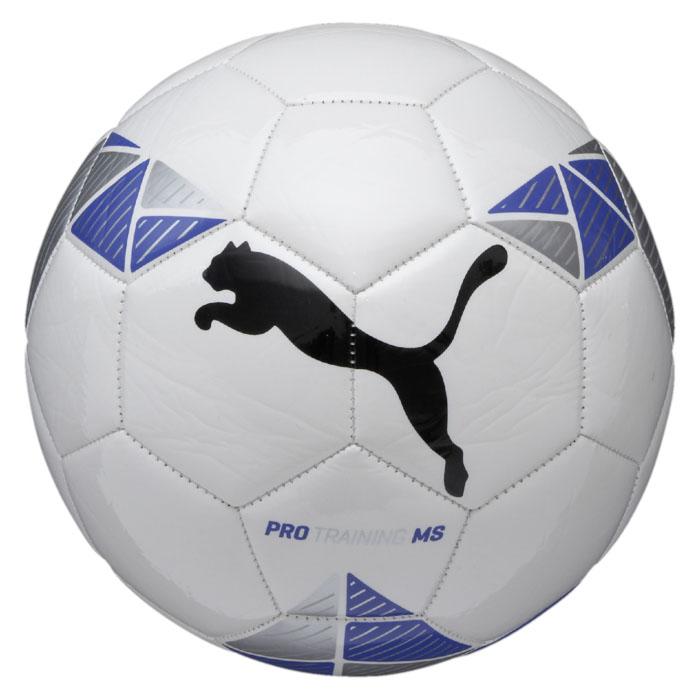 Мяч футбольный Puma Pro Training MS ball, цвет: белый, синий. Размер 508243202Футбольный мяч Pro Training MS ball предназначен для тренировок начального уровня. Отлично подойдет как для тренировок, так и для игры с друзьями. Сочетание корпуса из термополиуретана и камеры из резины обеспечивает данному мячу долгий срок эксплуатации.