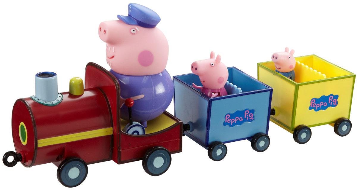 Игровой набор Peppa Pig Паровозик дедушки Пеппы15563Мультсериал Свинка Пеппа настолько обожаем малышами, что они ждут каждую его серию с огромным нетерпением. А с игровым набором Паровозик дедушки Пеппы они могут не только наблюдать за приключениями веселой свинки, но и участвовать в них! Пеппа и Джордж уговорили своего дедушку покатать их на паровозике. Малыши садятся в открытые вагончики и отправляются навстречу новым приключениям. Куда они поедут на этот раз? С кем из друзей им предстоит встретиться? Новую серию любимого мультфильма детки придумают сами. Набор содержит паровозик с двумя вагончиками и фигуркой дедушки, управляющей паровозом, и фигурки в виде Пеппы и Джорджа, которые могут сидеть, стоять, двигать ручками и ножками. Фигурка дедушки несъемная; при нажатии на его голову воспроизводятся фразы и песенка из мультфильма на русском языке. Благодаря колесикам малыш сможет катать игрушку. Увлекательная игра с этим набором подарит детям удовольствие, помогая им осваивать навыки общения и...