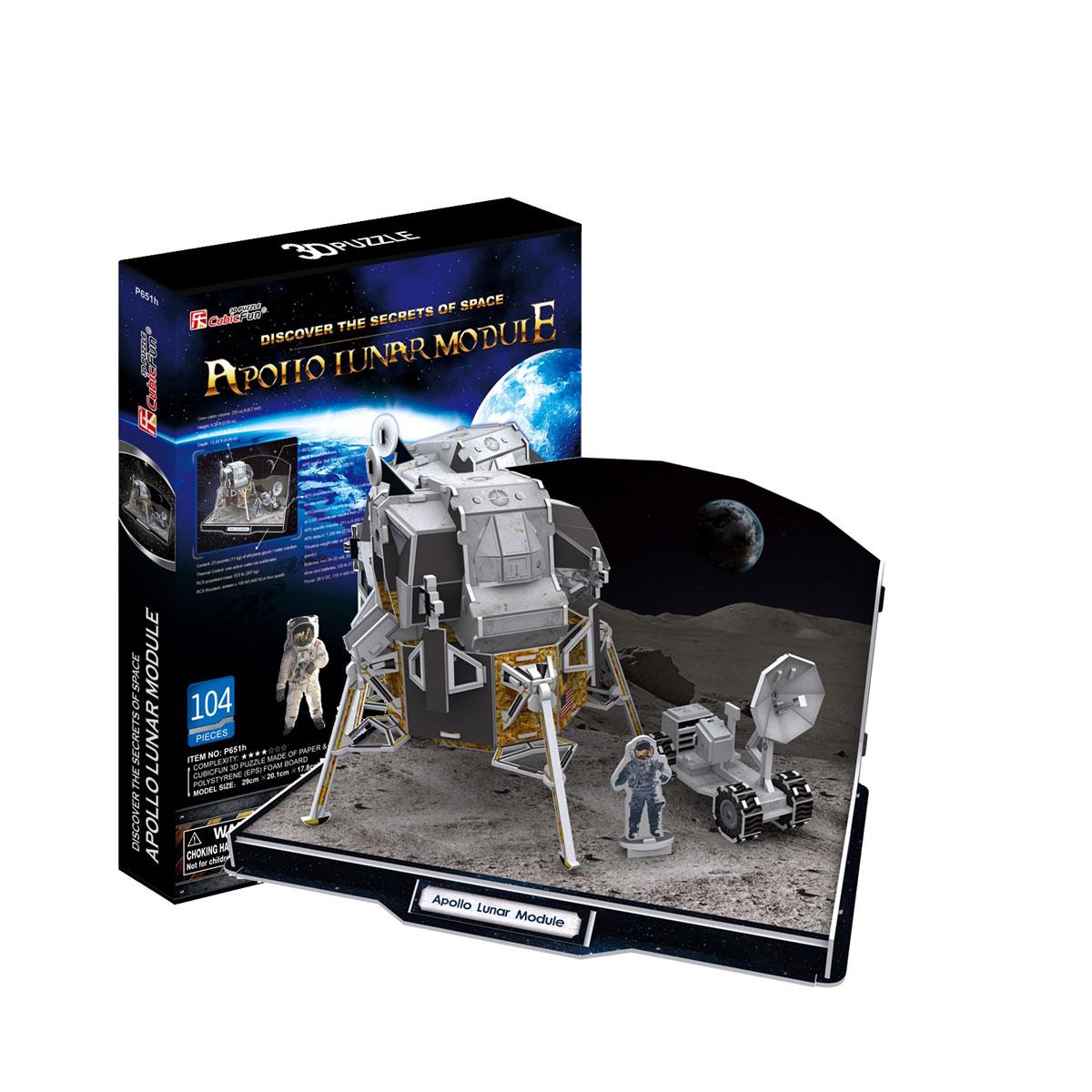 CubicFun Лунный модуль корабля Аполлон, 104 элементаP651hКонструктор-макет CubicFun Лунный модуль корабля Аполлон - увлекательнейший способ времяпрепровождения и уникальная возможность получить объемную модель лунного модуля корабля Апполон. В комплект входят 104 элемента для сборки и схематичная инструкция по сборке. Все детали красочны и достаточно большие для того, чтобы даже маленькому ребенку было удобно и комфортно его собирать. Макет собирается без использования клея и ножниц. CubicFun - один из лидеров в производстве игрушек и сувенирной продукции на рынках США, Англии, Европы и Азии. Преимущества CubicFun: 1. Высочайшее качество продукции. 2. Постоянно расширяющийся/обновляющийся ассортимент. 3. Четкая адресация наборов определенному возрасту. 4. Конкурентные цены. Ребенок самостоятельно превращает лист ламинированного пенокартона в любимые игрушки и целые города: роскошные коттеджи, новомодные джипы, вертолеты, памятники архитектуры. Соединения деталей просчитаны и...