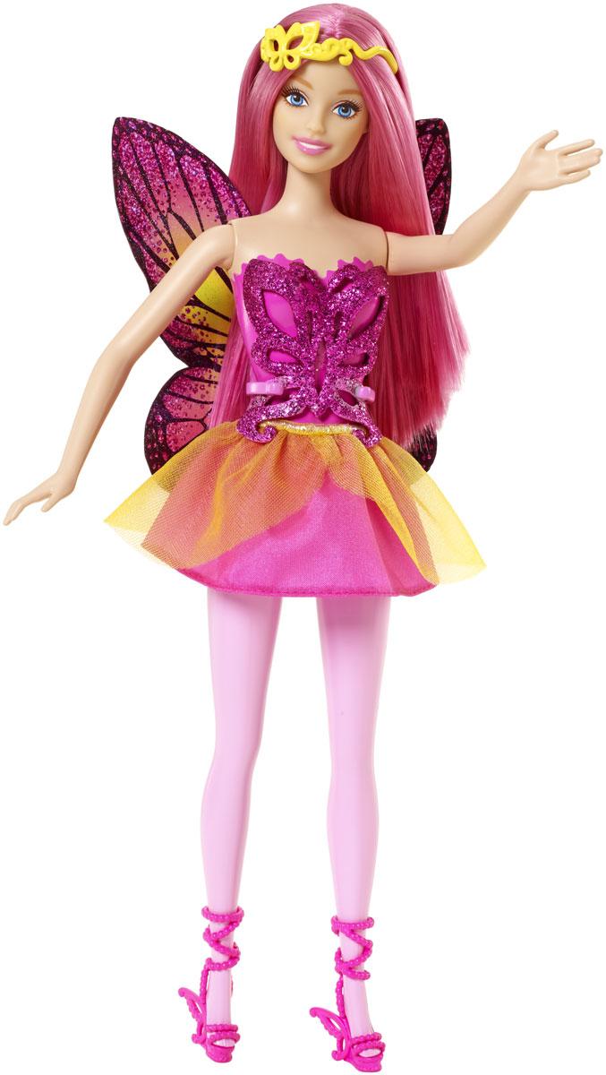 Barbie Кукла Фея цвет платья розовыйCFF32_CFF33Кукла Barbie Фея прямо-таки излучает волшебство! Куколка с длинными розовыми волосами одета в прекрасный наряд, состоящий из пластикового топа и текстильной юбочки. Топ оригинального покроя имеет удобную застежку. Снимающаяся атласная юбка контрастирует с лифом, а ноги в цветных колготках и волшебные босоножки добавляют необычности. Сияющие, подходящие по цвету крылья бабочки, которые легко пристегнуть, так и просятся в полет. Волшебный образ завершают диадема, тоже украшенная бабочкой. Головка, ручки и ножки Барби подвижны, что позволит придавать кукле различные позы. Одежда и аксессуары подходят всем куклам-принцессам, русалкам и феям (продаются отдельно). Можно воплощать привычных персонажей, а можно придумать новых: морскую фею, фею-принцессу, даже крылатую принцессу-русалку - кого потребует сюжет! Ваша малышка придет в восторг от такого подарка!