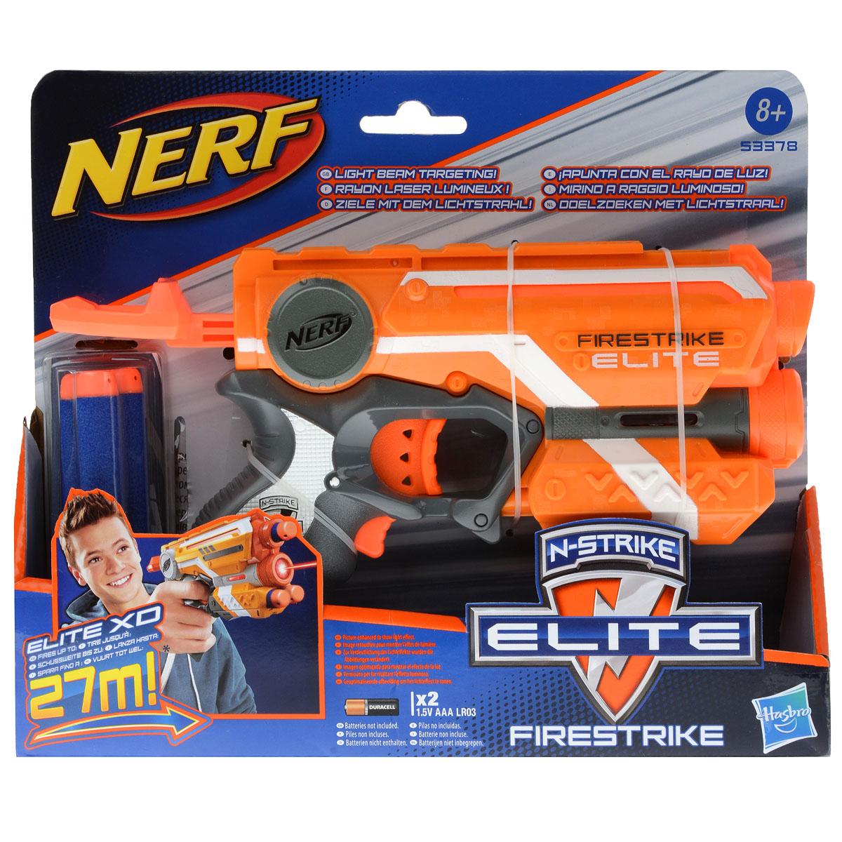 Бластер Nerf Firestrike, с патронами, цвет: оранжевый, серый53378E35_оранжБластер Nerf Firestrike позволит вашему ребенку почувствовать себя во всеоружии! Бластер выполнен из яркого безопасного пластика оранжевого и серого цветов и снабжен световым прицелом для точного попадания в цель даже в темноте. Комплект включает в себя три патрона, выполненных из гибкого вспененного полимера. Бластер стреляет на расстояние до 27 метров. Игра с таким бластером поможет ребенку в развитии меткости, ловкости, координации движений и сноровки. Необходимо докупить 2 батарейки напряжением 1,5V типа ААА (не входят в комплект).
