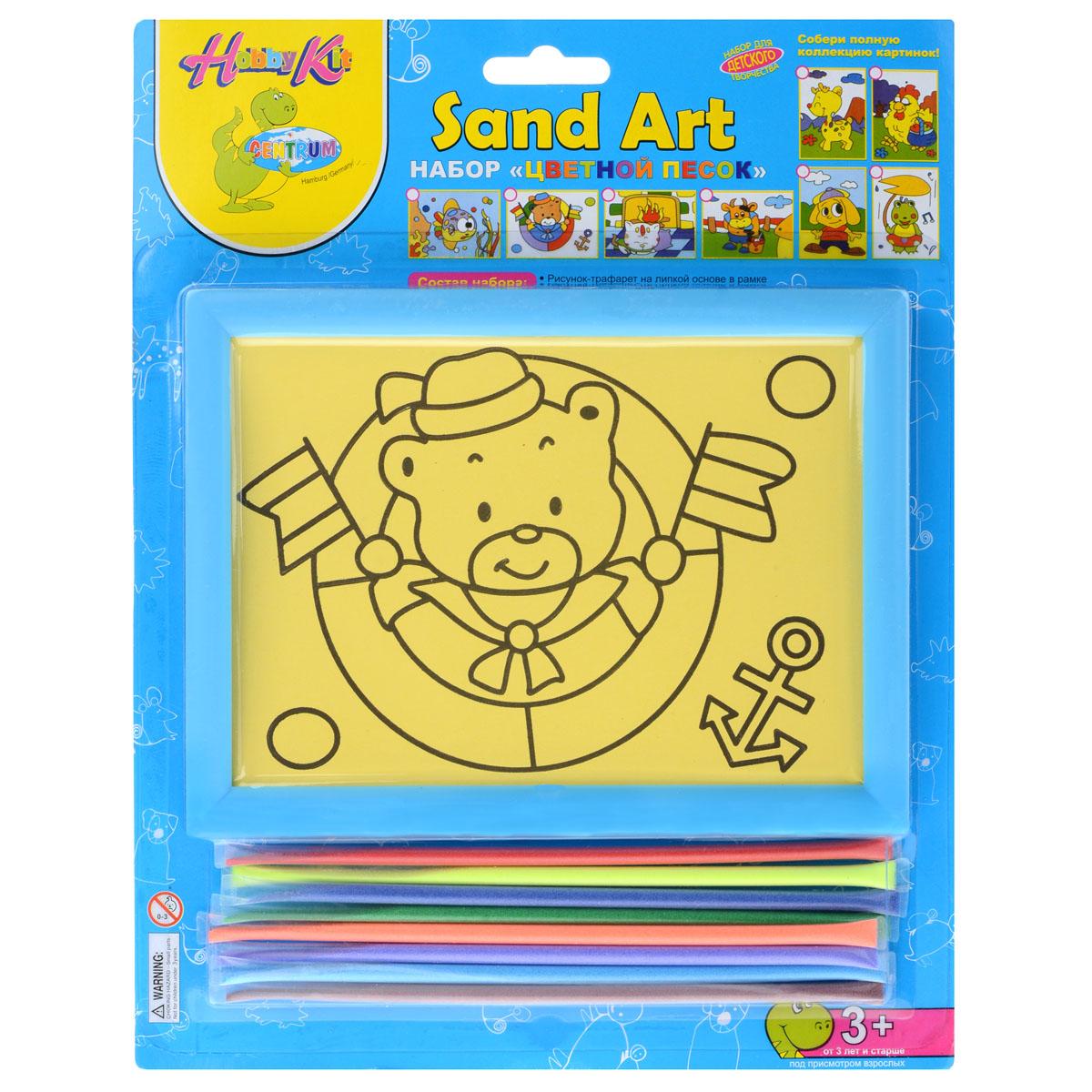 Набор для создания картины из цветного песка Centrum Медведь82457МНабор для создания картины из цветного песка Centrum Медведь обязательно порадует вашего малыша. С его помощью ребенок сможет своими руками создать необычную картину из цветного песка с изображением веселого мишки-морячка. В набор уже входит все необходимое для творчества: картинка-трафарет в пластиковой рамке и кварцевый песок 8 цветов (красный, желтый, синий, зеленый, оранжевый, фиолетовый, голубой, коричневый). Создать картину из цветного песка совсем несложно - на основу уже нанесен контур рисунка. Постепенно снимайте защитный слой с трафареты и засыпайте цветной песок нужного цвета на клейкую поверхность. Затем подождите, пока песок высохнет - и объемная картина из цветного песка готова! Готовую картину можно оформить входящей в комплект рамкой. Простой и увлекательный процесс создания картины подарит вашему малышу массу удовольствия, и поможет развить мелкую моторику рук, аккуратность, творческое мышление и художественный вкус. Готовая картина из цветного...