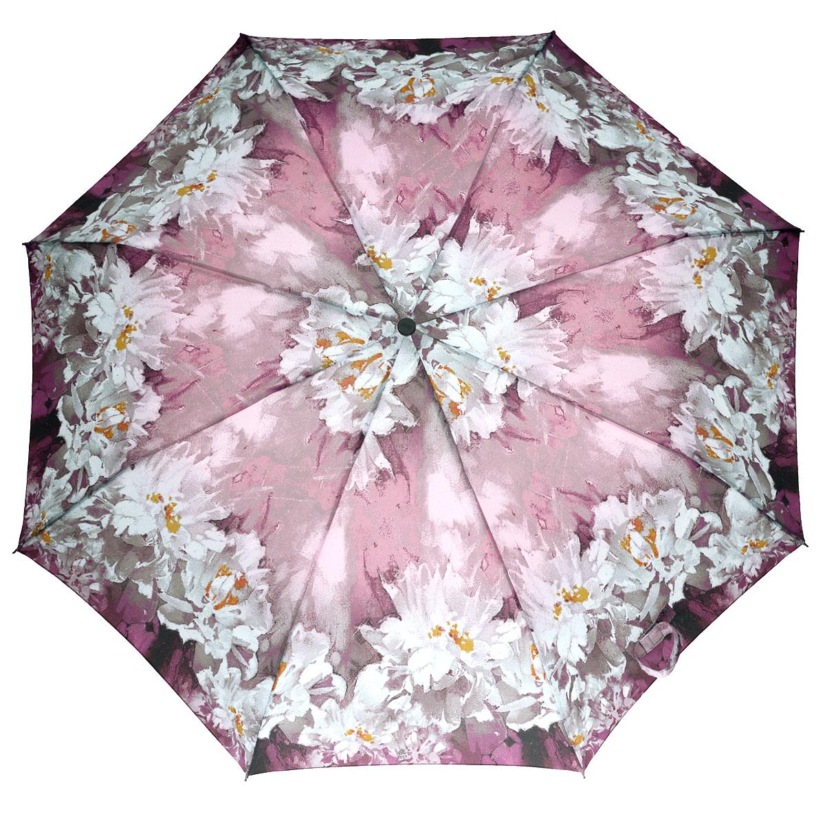 Зонт женский Zest, автомат, 3 сложения, цвет: розово-фиолетовый, белый. 23846-43423846-434Прелестный автоматический зонт Zest в 3 сложения изготовлен из высокопрочных материалов. Каркас зонта состоит из 8 спиц и прочного алюминиевого стержня. Специальная система Windproof защищает его от поломок во время сильных порывов ветра. Купол зонта выполнен из прочного полиэстера с водоотталкивающей пропиткой и оформлен красочным цветочным принтом. Используемые высококачественные красители обеспечивают длительное сохранение свойств ткани купола. Рукоятка, разработанная с учетом требований эргономики, выполнена из пластика. Зонт имеет полный автоматический механизм сложения: купол открывается и закрывается нажатием кнопки на рукоятке, стержень складывается вручную до характерного щелчка. Благодаря этому открыть и закрыть зонт можно одной рукой, что чрезвычайно удобно при входе в транспорт или помещение. Небольшой шнурок, расположенный на рукоятке, позволяет надеть изделие на руку при необходимости. Модель закрывается при помощи хлястика на застежку-липучку. К зонту...
