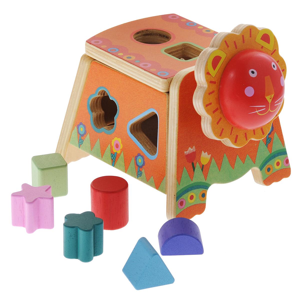 Djeco Игрушка-сортер Кикулео06420Яркая игрушка-сортер Djeco Кикулео привлечет внимание вашего ребенка и не позволит ему скучать. Она выполнена из дерева в виде симпатичного льва с головкой на металлической пружинке. На тельце имеются шесть отверстий разных форм. В комплект входят шесть фигурок: треугольник, квадрат, круг, цветочек, звездочка и полукруг. Задача малыша состоит в том, чтобы опустить фигурки в соответствующие им отверстия. Когда все они окажутся внутри сортера, их можно достать, откинув крышку на спине льва. Края игрушки закруглены, что делает ее безопасной для игр с детьми от одного года. Во время игры ребенок познакомится с основными цветами, научится различать фигуры, форму и цвет, разовьет логическое мышление и мелкую моторику пальчиков рук.
