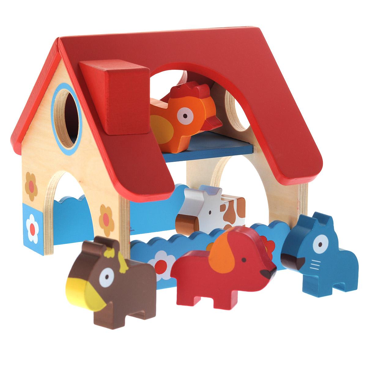 Djeco Игровой набор Деревянная ферма06388Игровой набор Djeco Деревянная ферма понравится вашему малышу. Он выполнен из дерева, выкрашенного нетоксичными красками, и включает игрушку в виде домика и пять фигурок животных разных цветов: лошадку, коровку, собачку, кошку и курочку. Они готовы к новым приключениям на ферме, которые с удовольствием придумает ваш малыш. Внутри домика - два этажа. В крыше имеются отверстия. Также домик оснащен стойлом и двумя арками. Игровой набор Djeco Деревянная ферма способствует развитию моторики пальчиков рук, логического мышления, зрительной памяти. В игровой форме ребенок познакомится с прекрасным миром домашних животных.
