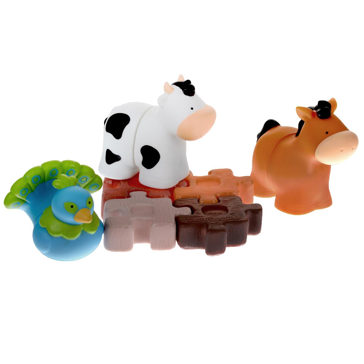 Мягкий конструктор Ks Kids Ферма-2KA650Мягкий конструктор Ks Kids Ферма-2 разработан специально для всестороннего развития с первого года жизни. Набор выполнен из мягкого винила и включает в себя 3 элемента конструктора и 3 фигурки с отверстиями в нижней части, выполненных в виде лошадки, коровки и павлина, а также красочную книжку с забавным комиксом, которую можно использовать в качестве фона для игровых сценок. Элементы различных конструкторов серии Popbo Blocs совместимы, что дает вашему малышу неограниченный простор для фантазии. Конструктор не портится от воды и подходит для игр в ванной. Мягкий конструктор надолго увлечет вашего малыша, он сможет часами играть с ним, комбинируя детали и придумывая различные истории. Благодаря играм с мягким конструктором ребенок сможет развить цветовое восприятие, тактильные ощущения, мелкую моторику рук, воображение и логическое мышление.