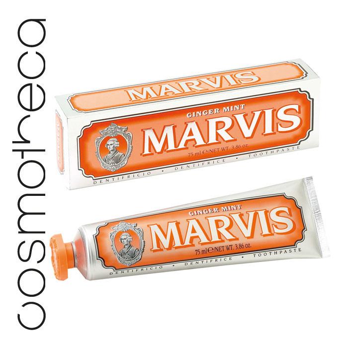 Marvis Зубная паста Мята и Имбирь 75 мл411083Зубная паста Мята и Имбирь  подарит Вам крепкие зубы, здоровые десны, свежее дыхание и отличное настроение на весь день. Фтор способствует укреплению зубной эмали, подавляя образование кислот бактериями зубного налета. Мягкие абразивные вещества нежно удаляют налет с зубов, не царапая эмаль, а мягко полируя ее.