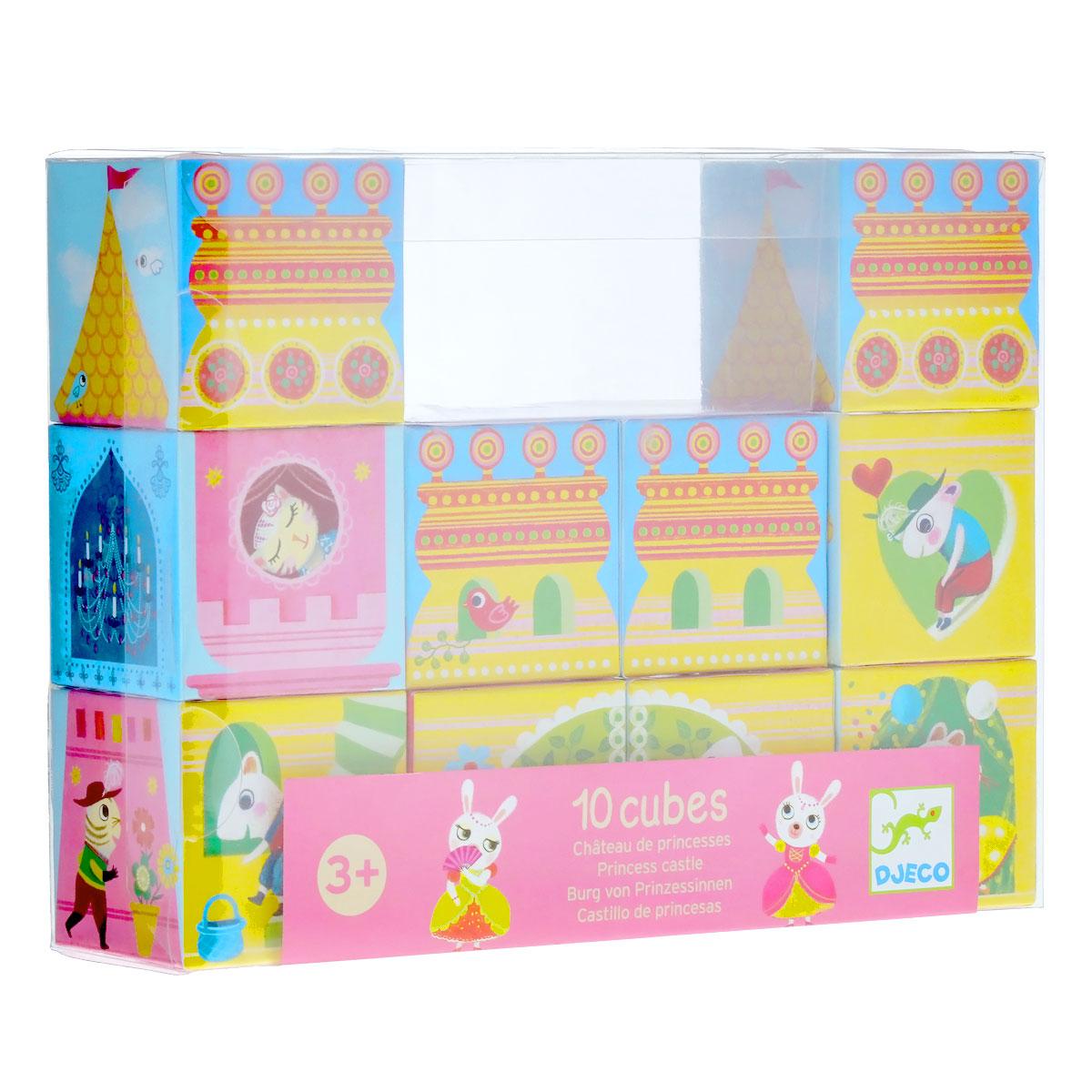 Djeco Набор кубиков Замок принцессы08205Набор кубиков Djeco Замок принцессы позволит вашей малышке создавать различные варианты сказочного замка, который населяют милые зверюшки. Кубики выполнены из прочного картона. Блоки разработаны таким образом, чтобы здания в итоге были ассиметричными и развивали у ребенка понятие сложных форм и размеров. В наборе 10 кубиков.